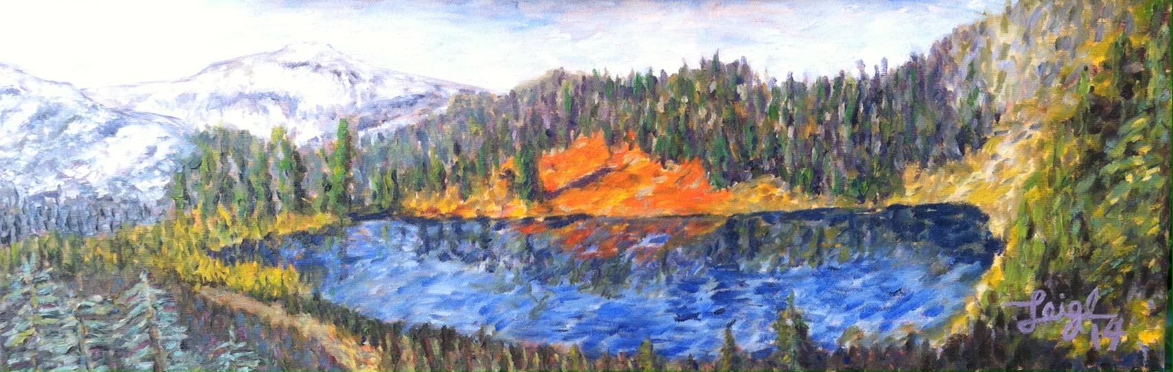 Ben's Mountain Lake  ~  Mardi & Ken Terrill, Blue Lake, CA 2014  •  24 x 8