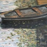 Row Boat in Moat  ~  Neil Cohn, Tilburg, The Netherlands 2017  •  30 x 15