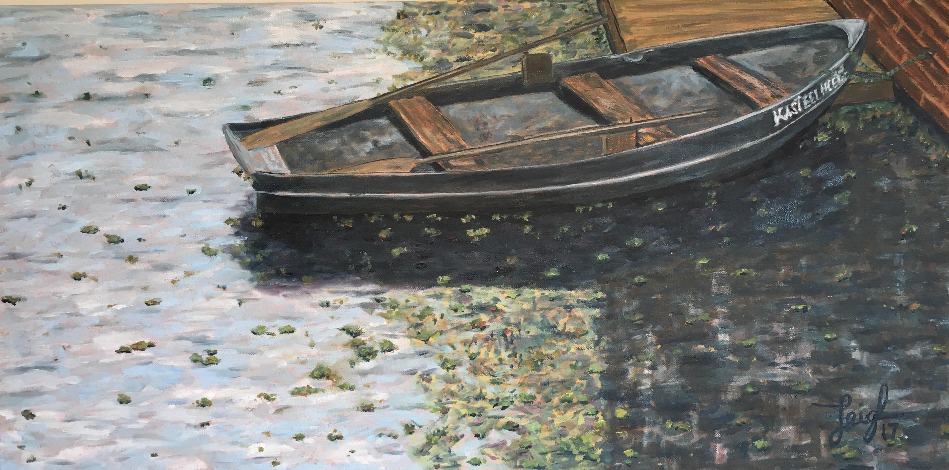 Row Boat in Moat  ~  Neil Cohn, Tilburg, The Netherlands 2017  •  30 x 15