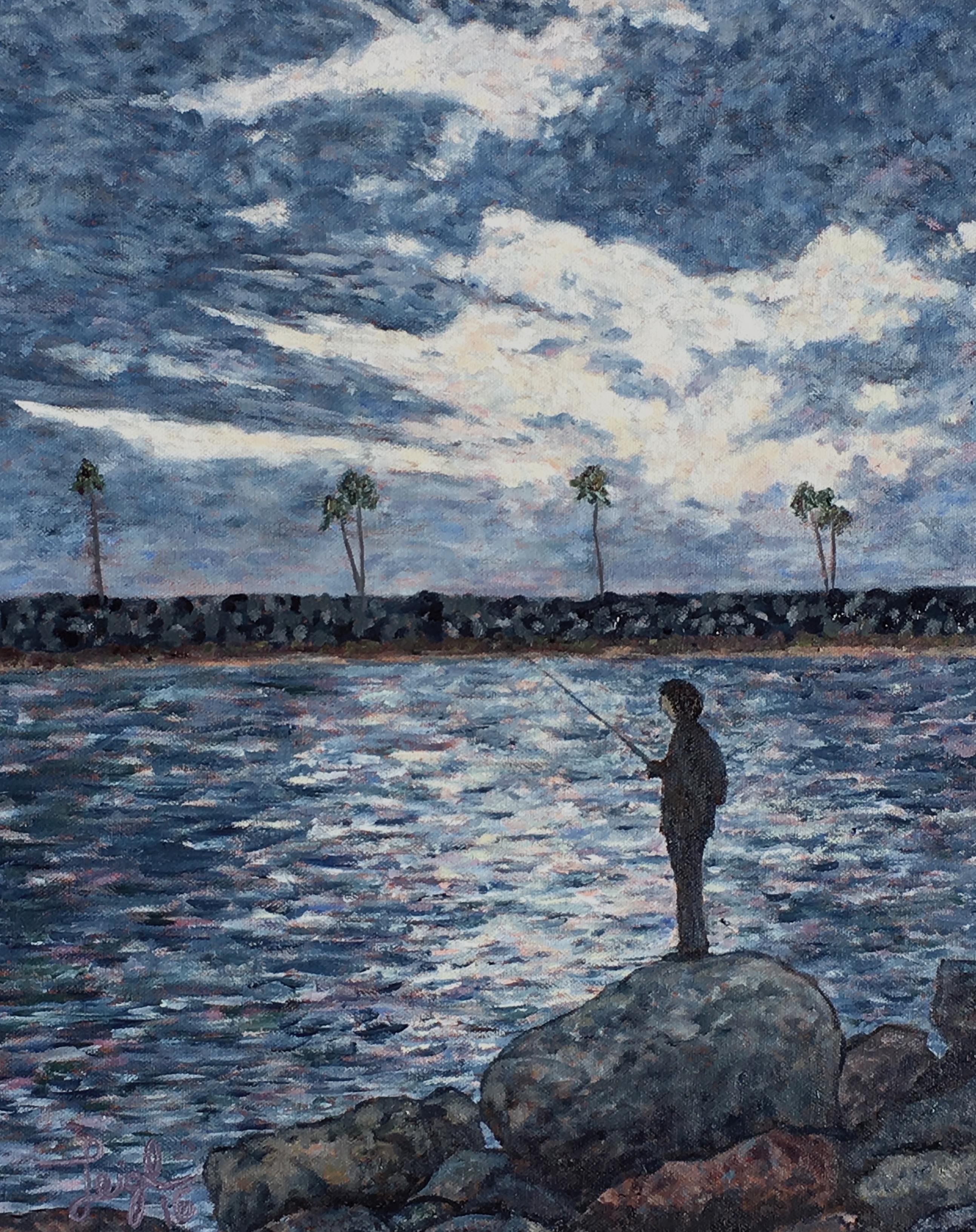 Fishing at Dusk  ~   Mikey Contardi, Vista, CA 2016  •  16 x 20
