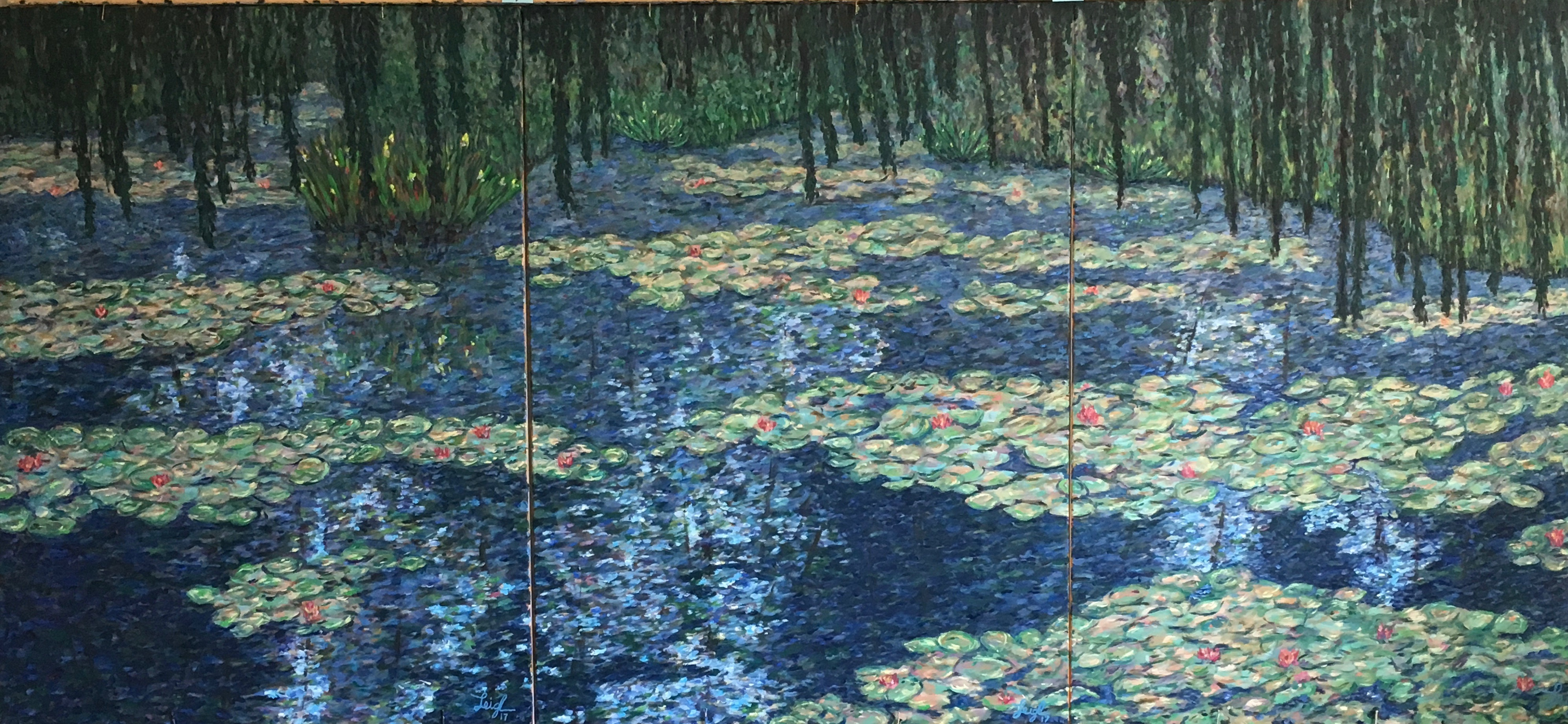 Water Lilies Triptych  ~   Aaron Null, San Diego, CA  2017  •  108 x 48