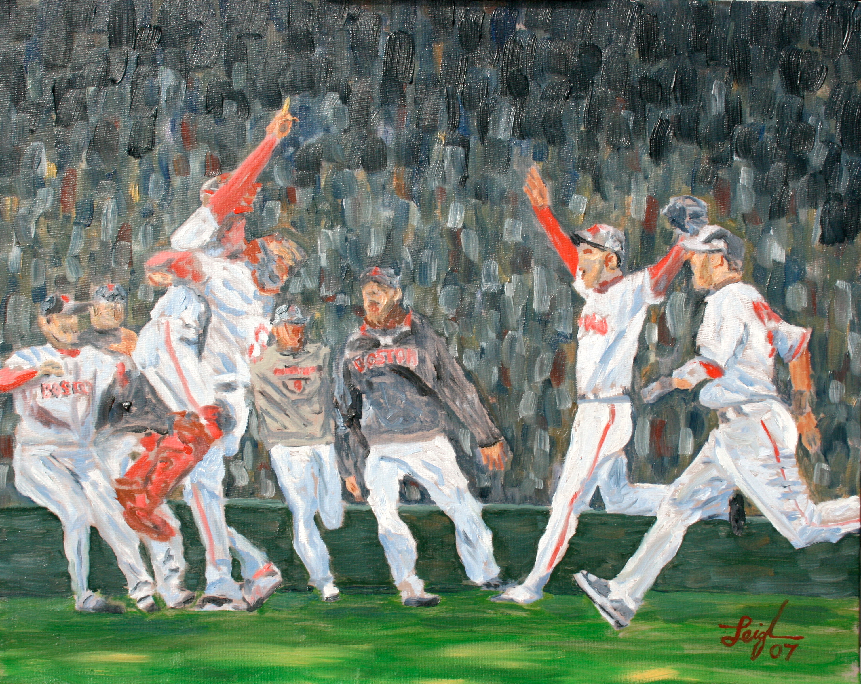 The Red Sox Win the World Series  ~   Margo Maine, West Hartford, CT 2007  •  20 x 16