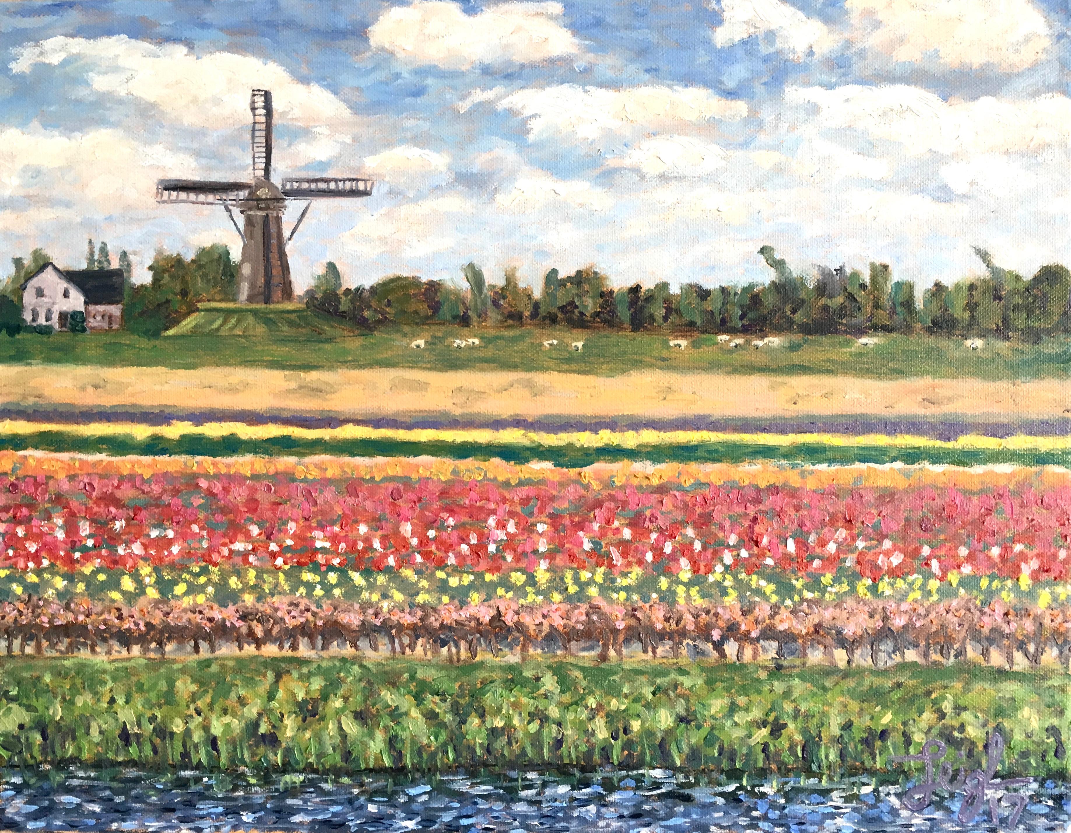 Flowers & Windmill  ~  Michelle & Alan Wolfson, Carlsbad, CA   2017  •  20 x 16