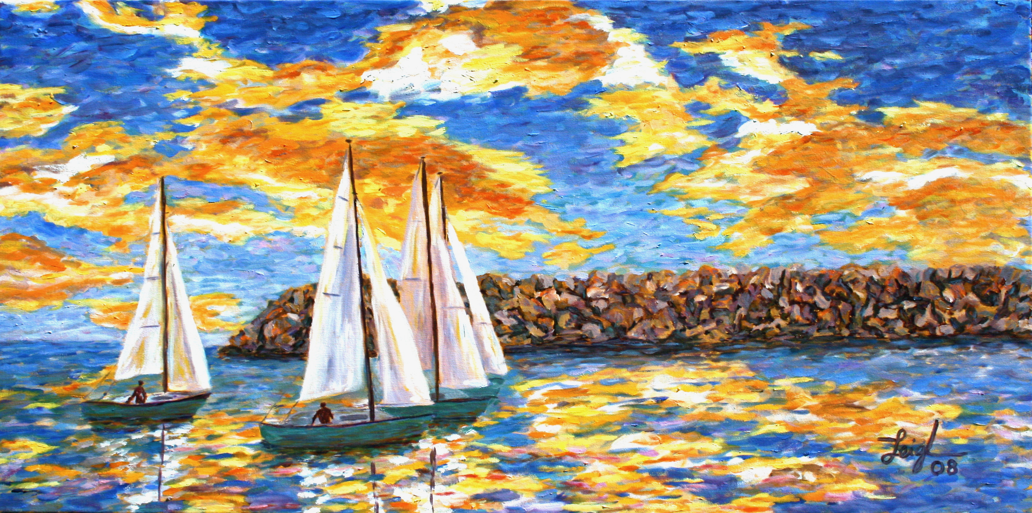 Boaters Coming in at Sunset  ~   Neil Cohn, Boston, MA 2008  24x48