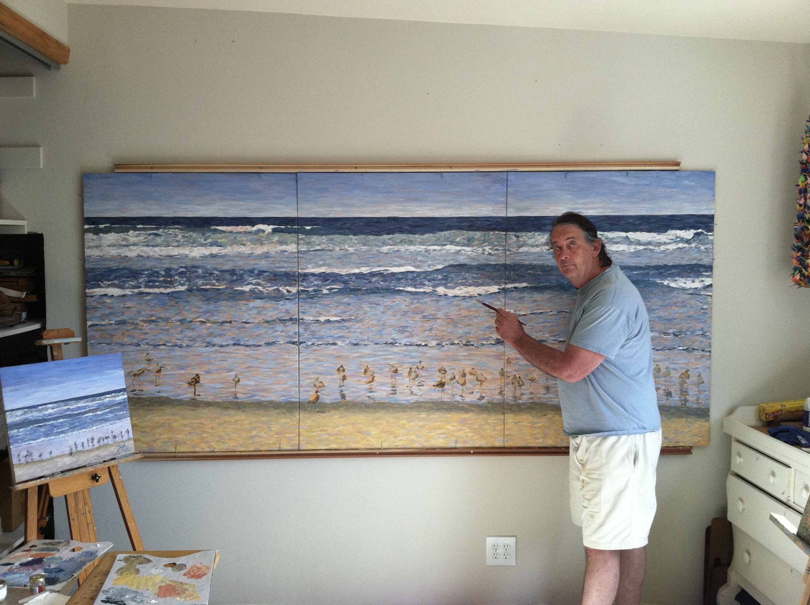 Painting in home studio