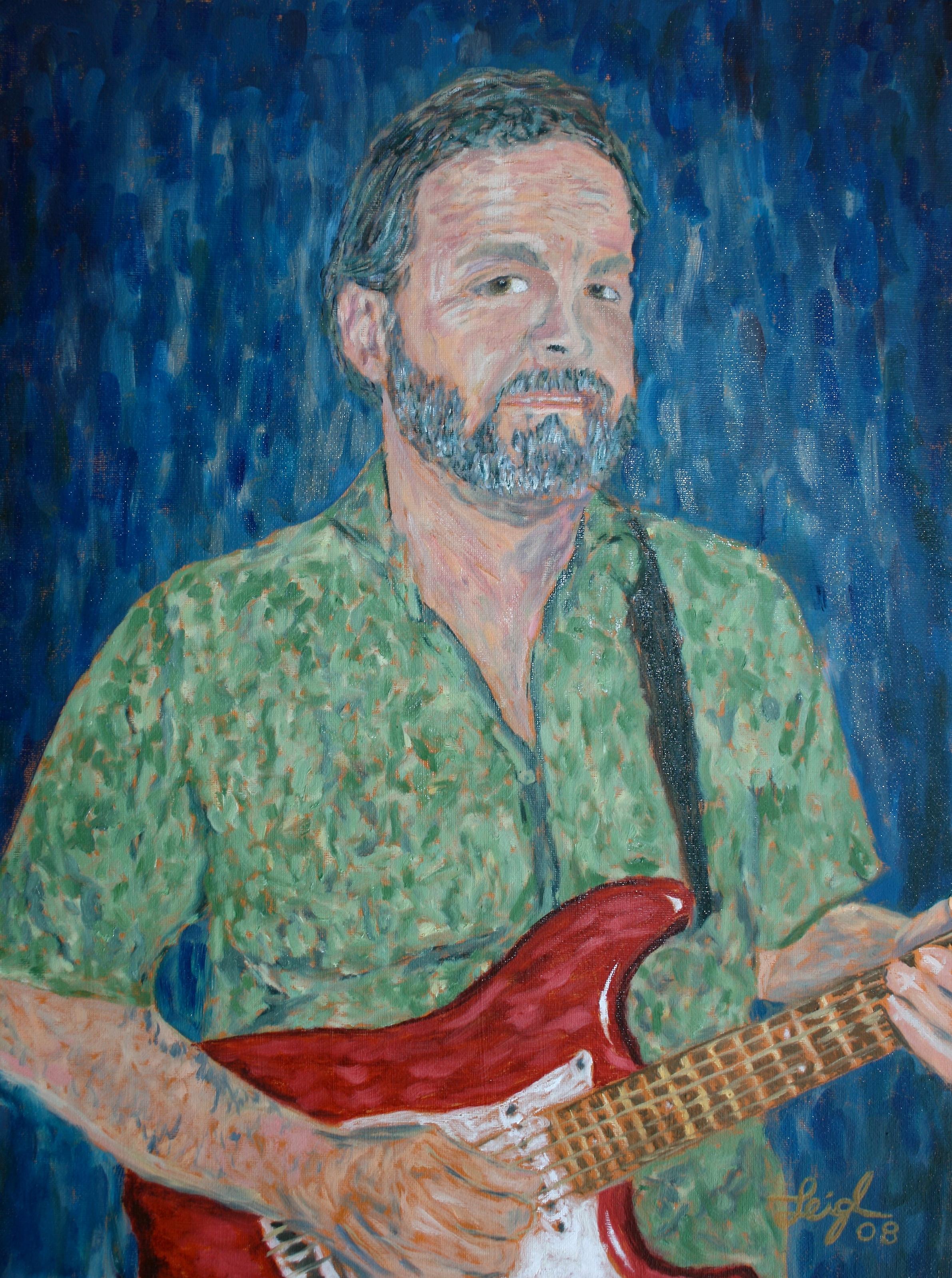 Ken Playing Guitar  ~   Ken Sprinkle, Oceanside, CA 2008  •  18 x 24