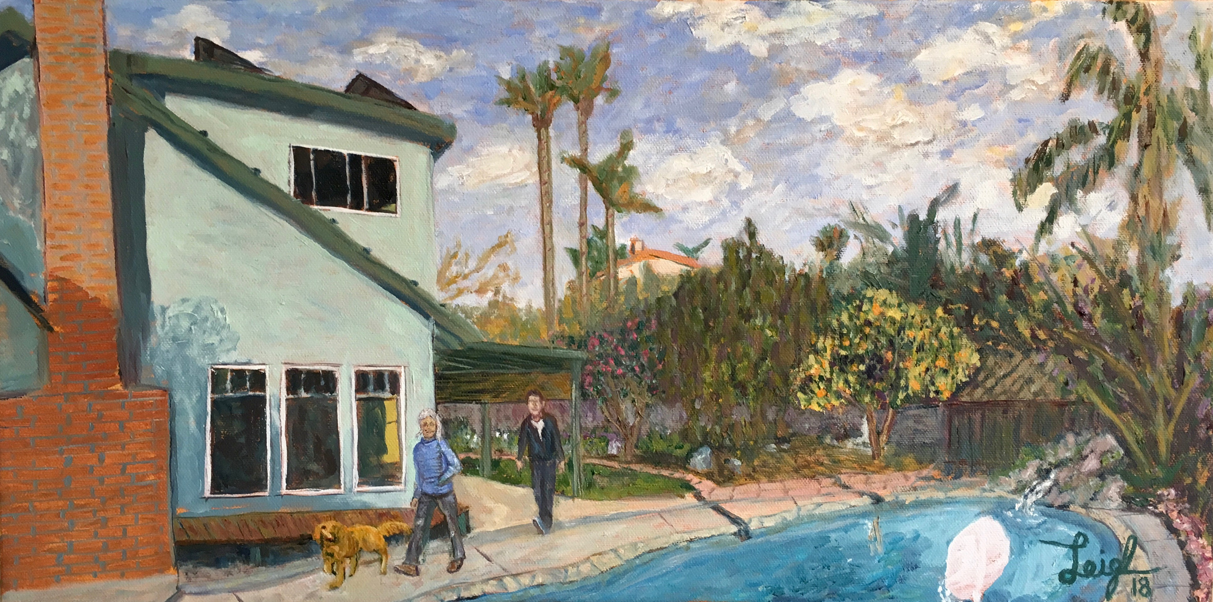 Backyard by the Pool  ~   2018  •  24 x 18