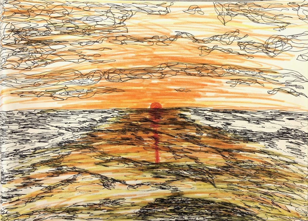 Sunset  ~   Pen and marker on paper 1972  •  16 x 12