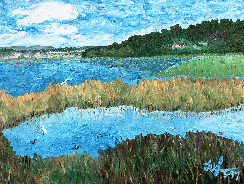 Buena Vista Lagoon (for Mom)  ~   Muriel Lipson Cohn, Rancho Bernardo, CA 1997  •  40 x 30