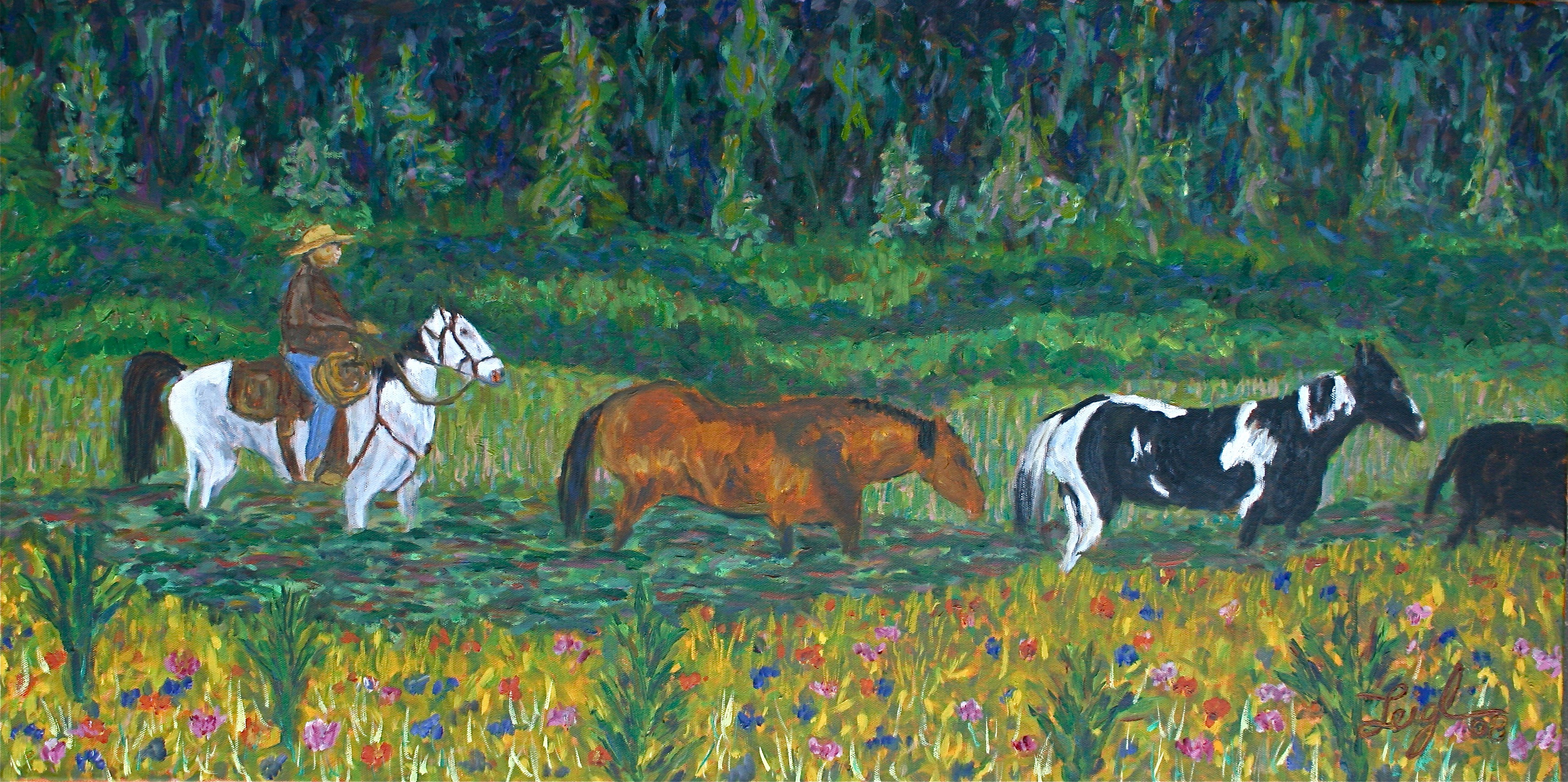 Greg Rounds Up the Horses  ~   (whereabouts unknown) 2008  •  24 x 18