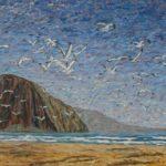 Birds in Flight at Morro Rock  ~   2008  •  48 x 24