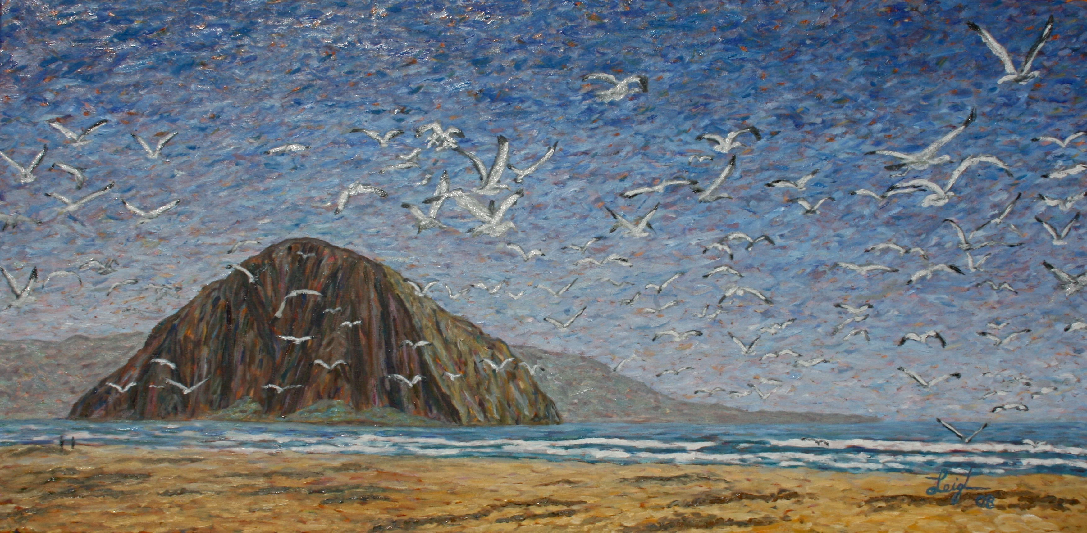 Birds in Flight at Morro Rock  ~   2008  •  48 x 24