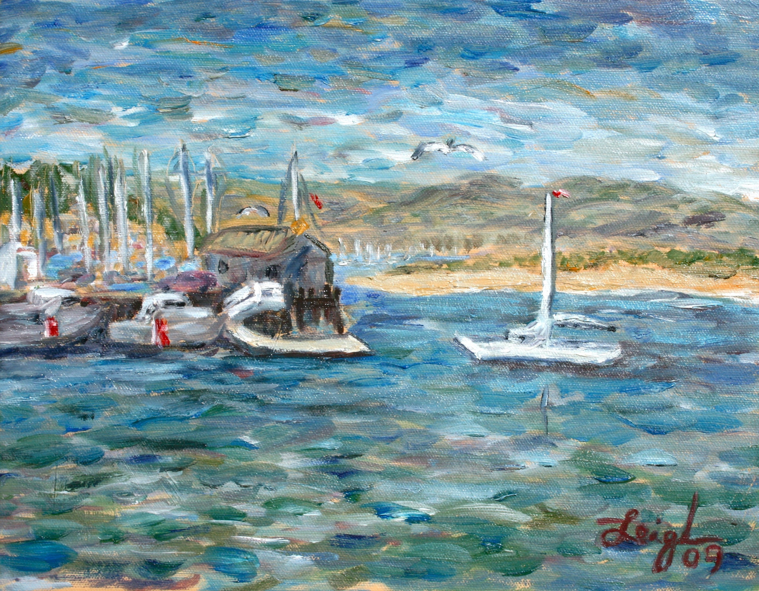 At the harbor   ~   2009  •  10 x 8 (study)