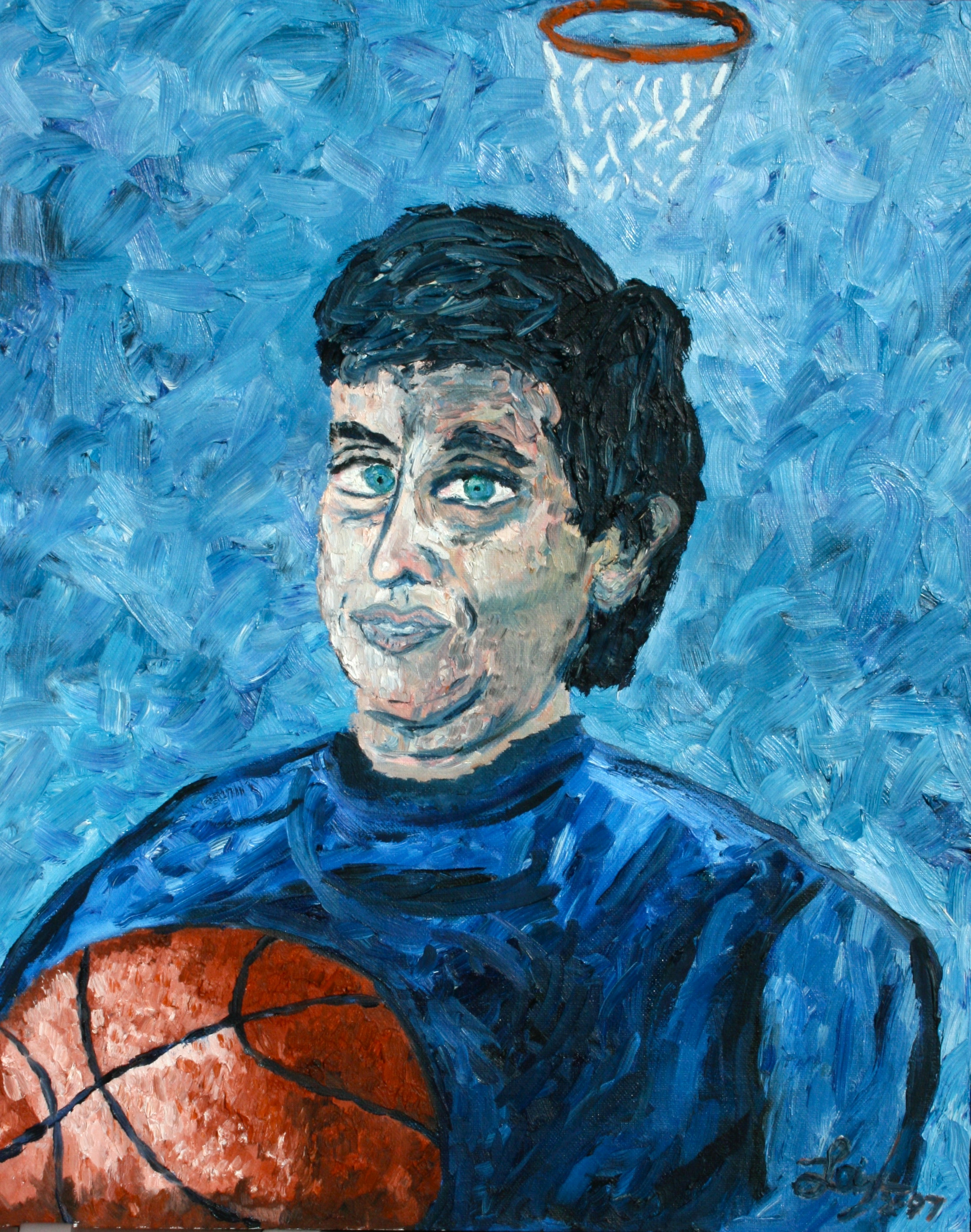Self Portrait as the Patron Saint of Basketball  ~   1997  •  16 x 20