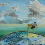 Self Portrait on a Bench  ~   1973  •  14 x 11