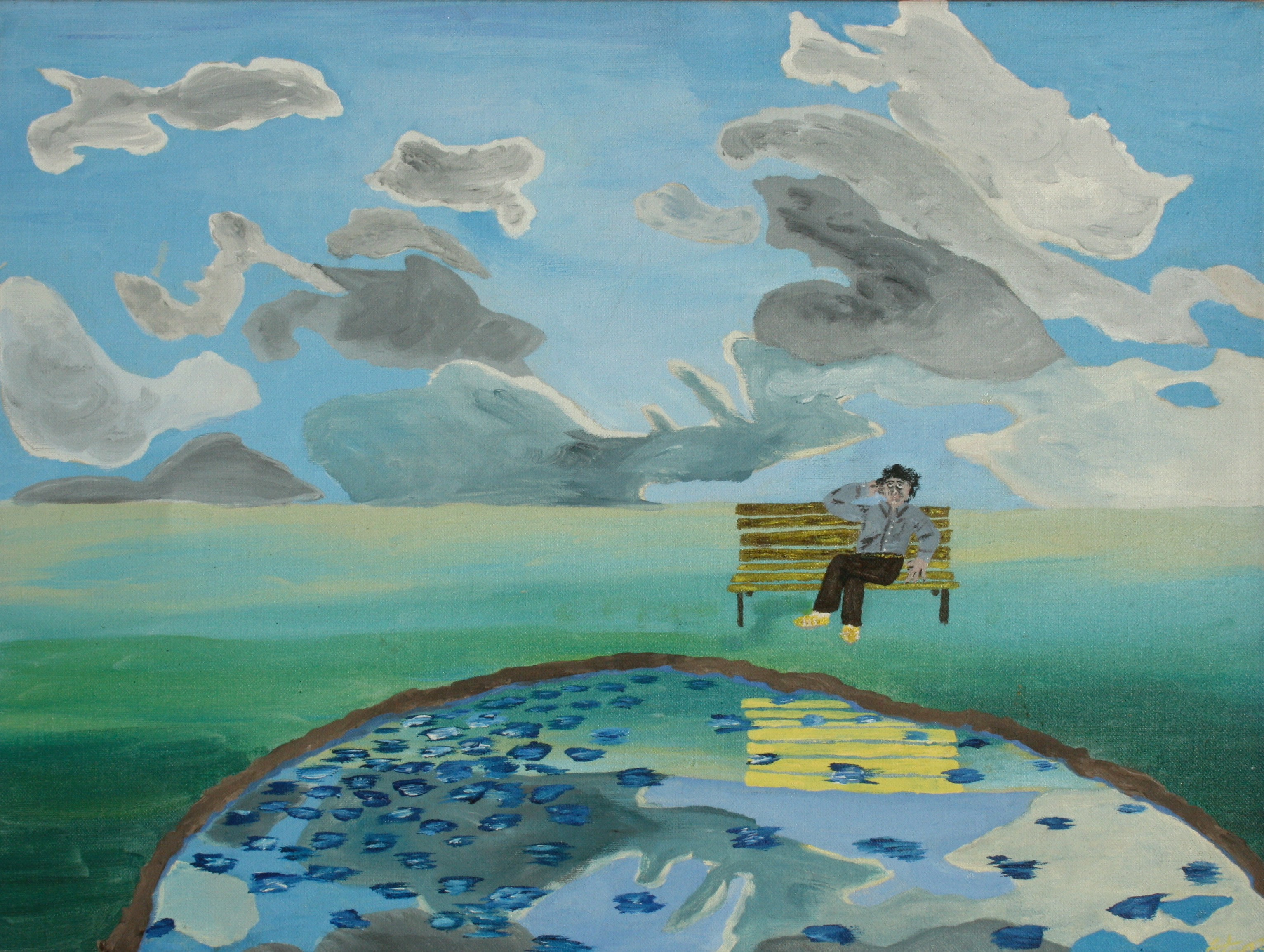 Self Portrait on a Bench  ~   1973  •  14 x 11