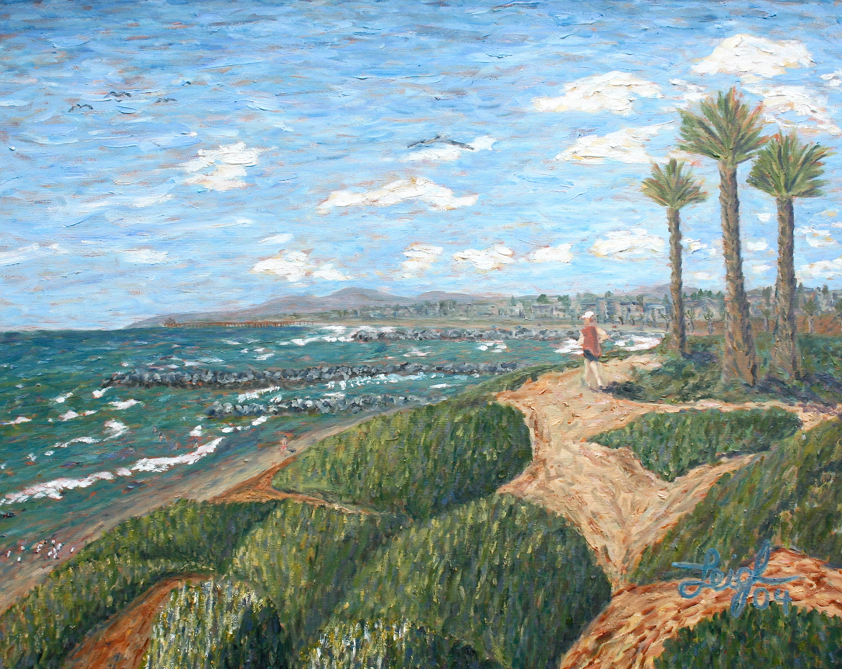 Jogger above Warm Waters  ~  Jeffrey Frazier, Escondido, CA   2004  •  30 x 24