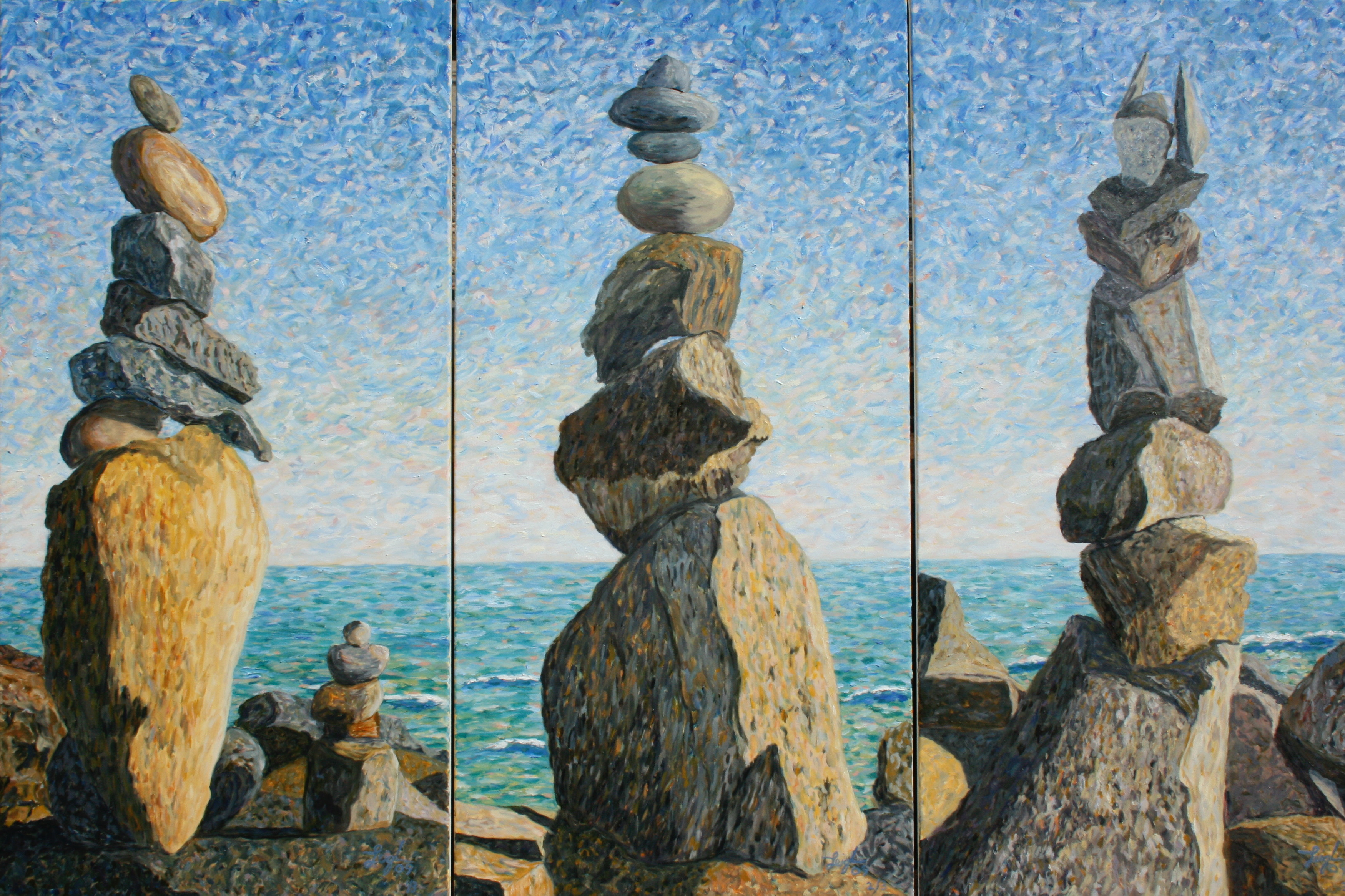 Impermanence: The Rock Sculptures ~  Carolyn Costin, Malibu, CA 2009 • 3 panels • 72 x 48