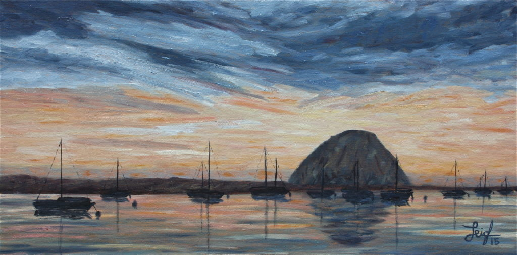 MB Harbor at Dusk  ~   Martin Furey, San Diego, CA  2015  •  12 x 24