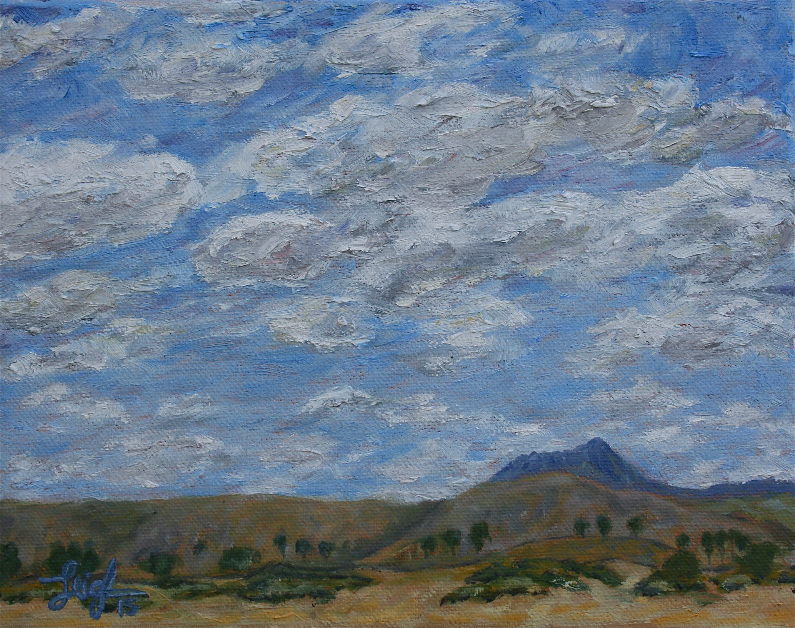 Hollister Peak & Clouds (study)  ~   2015  •  10 x 8
