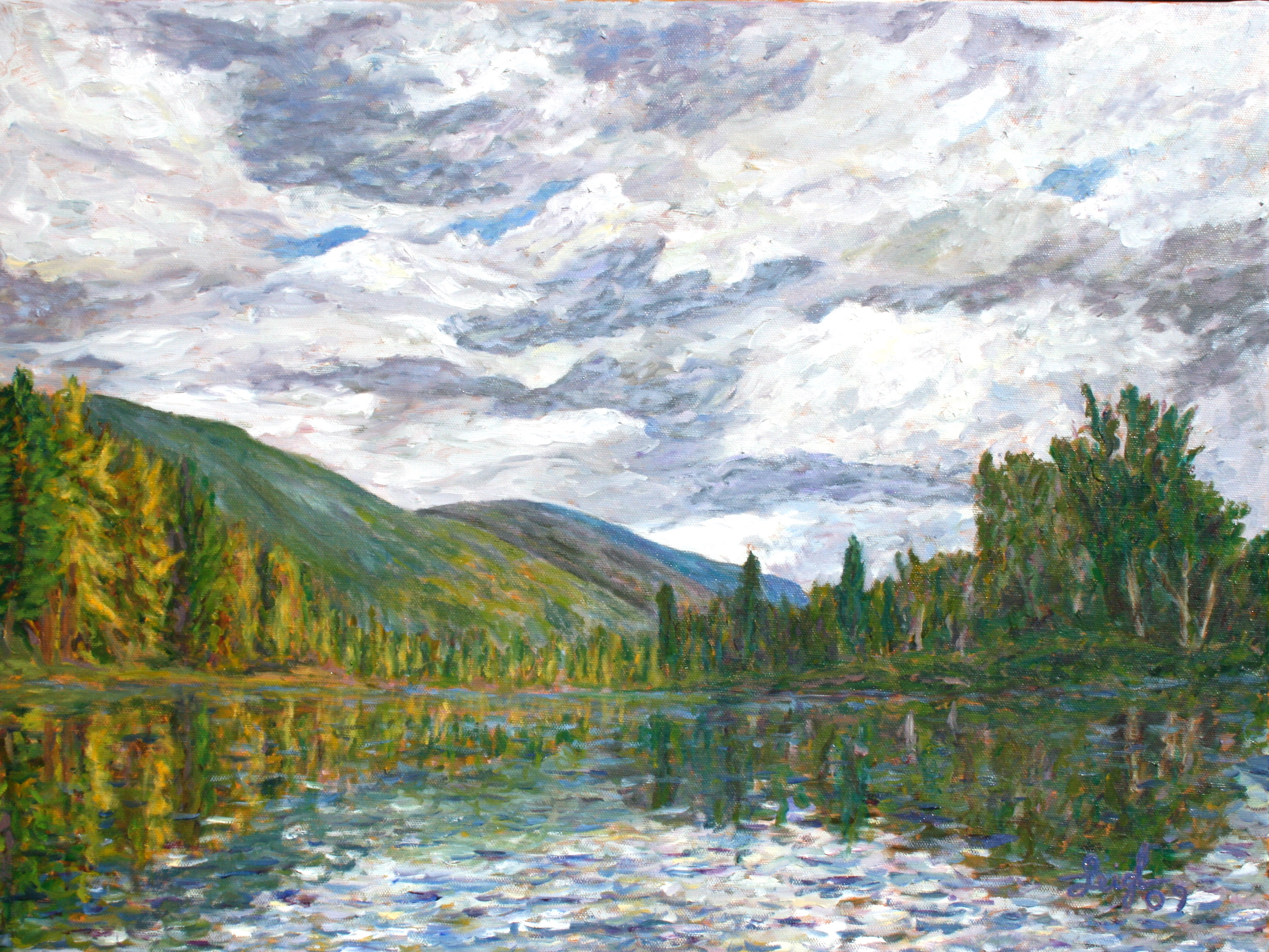 On the Swan River #1  ~   Steve and Gerry Connolly,  Big Fork, MT 2009 • 24 x 18