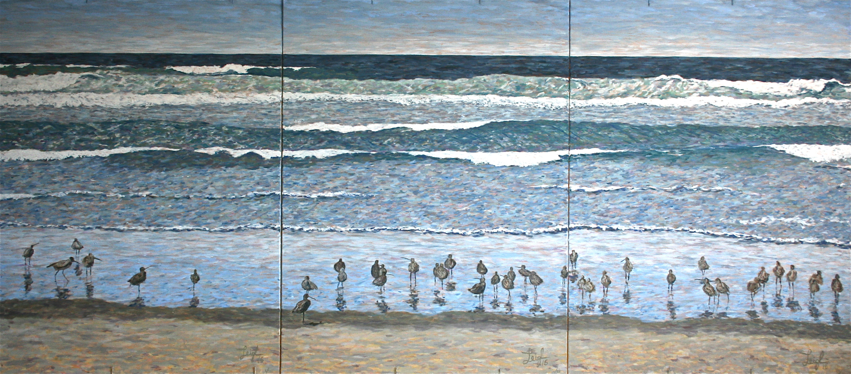 Birds on Beach Triptych  ~   Neil Cohn, Tilburg, The Netherlands 2016  •  108 x 48