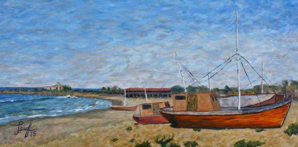 Boats on a Mexican Beach  ~   Gabe Borquez, Vista, CA  2015 • 24 x 12