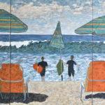 Carlsbad Beach Summer  ~   Jefferey & Diana Schaefer, Encinitas, CA 2016  •  108 x 48 (3 canvases of 36 x 48)