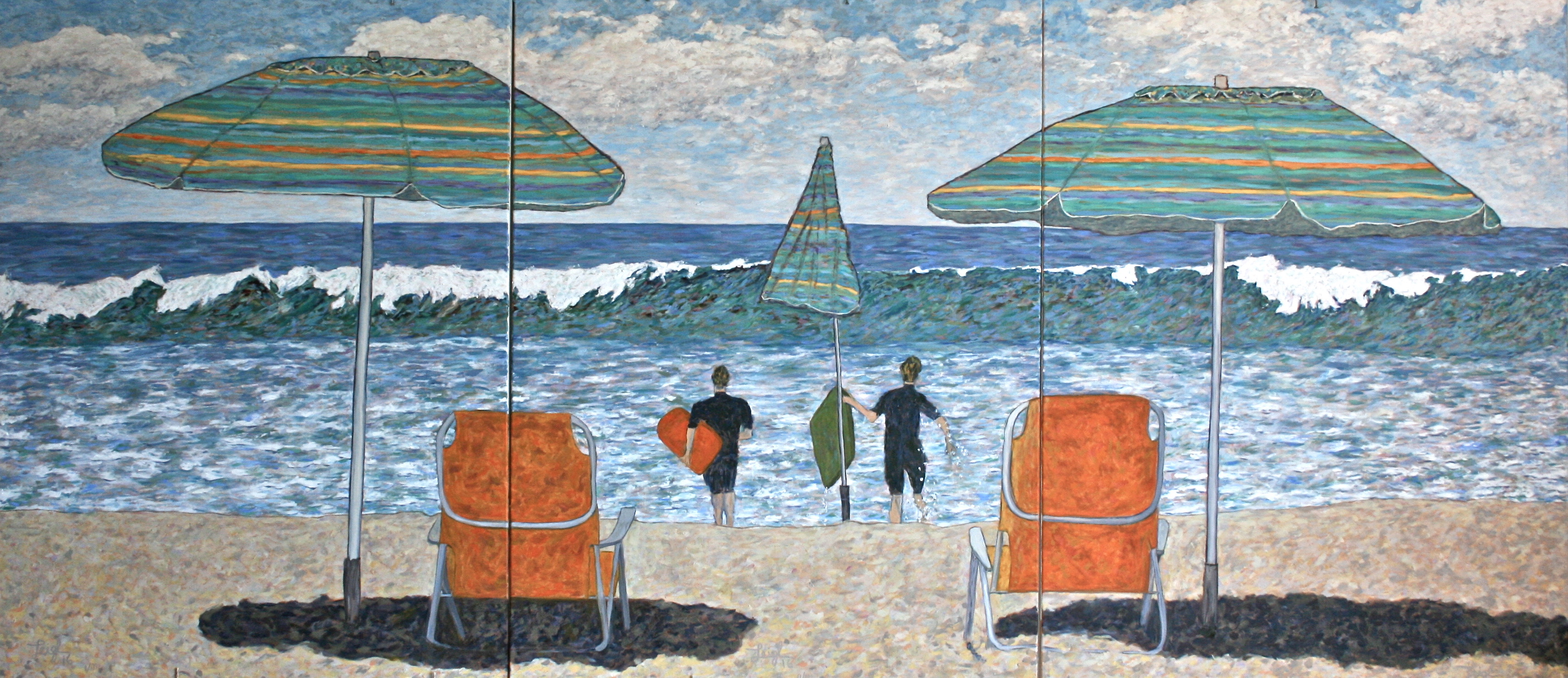 Carlsbad Beach Summer  ~   Jefferey & Diana Schaefer, Encinitas, CA 2016  •  108 x 48 (3 canvases of 36 x 48)