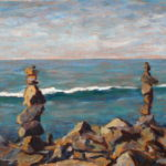Rocks and Wave  ~   George and Holly Moyer, Carlsbad, CA 2011 • 24 x 12