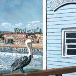 Pelican at Oceanside Pier  ~   Leslie Anderson, San Diego, CA 2017  •  24 x 30