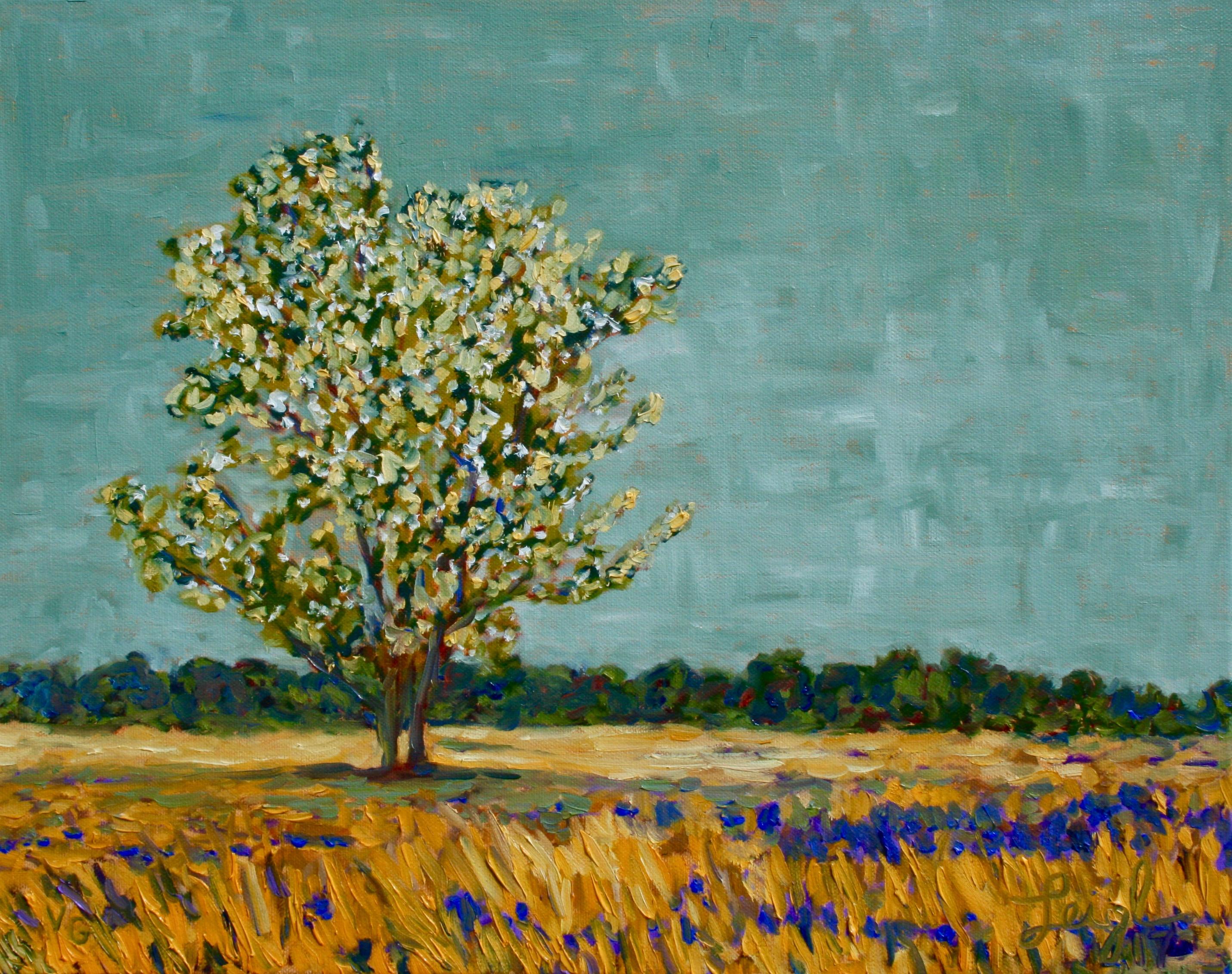 Tree on Heath #1  ~   (In the style of Van Gogh) Annette Heinmeyer, Phoenix, AZ  2017  •  20 x 16