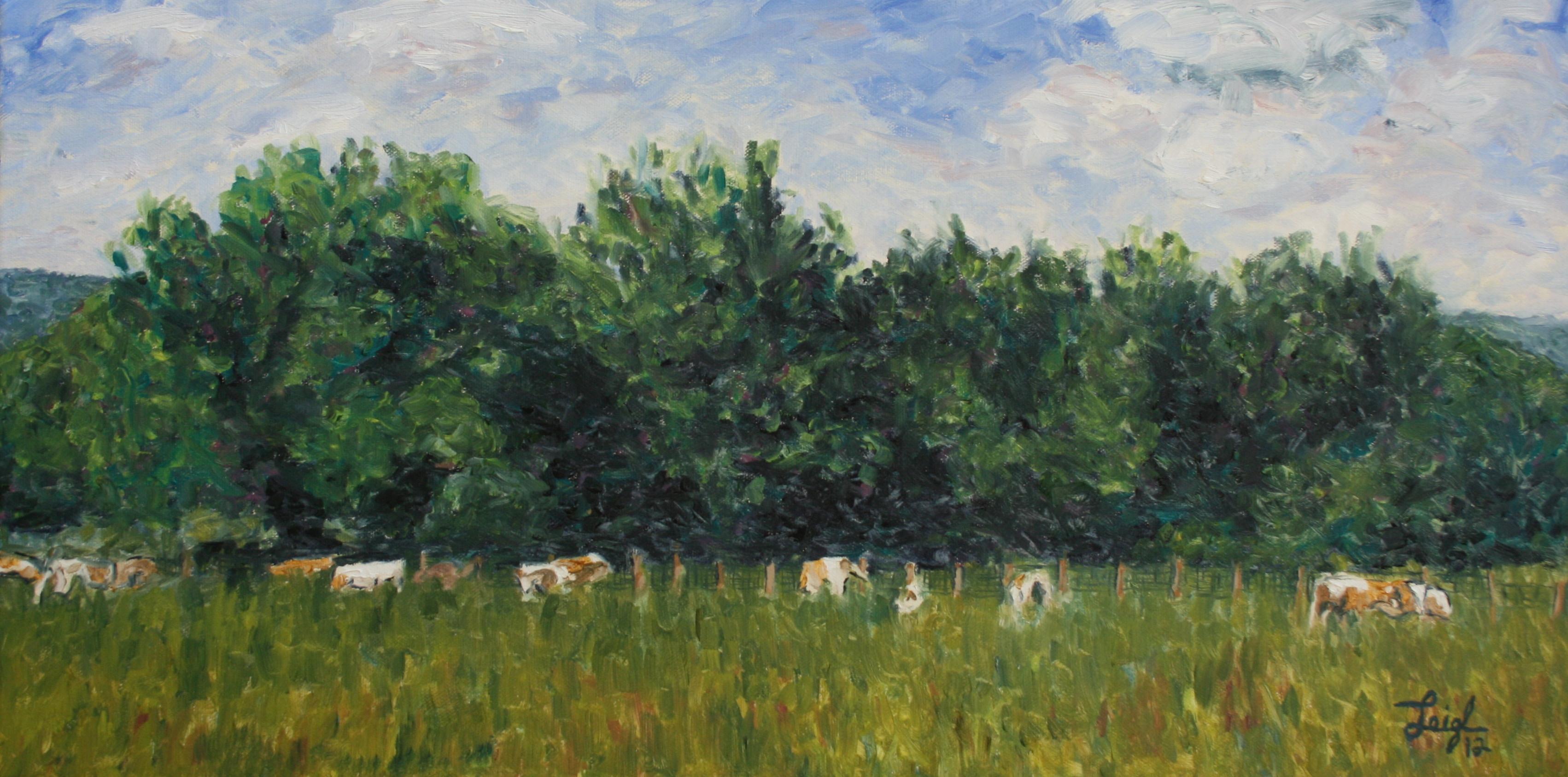 Cows at Argenteuil  ~   Cynthia Copeland & Greg Spiegal. Pasadena, CA 2012 • 24 x 12
