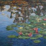Water Lilies in Monet's Pond  ~   Doug & Karen Hall, San Jose, CA  2012 • 48 x 24