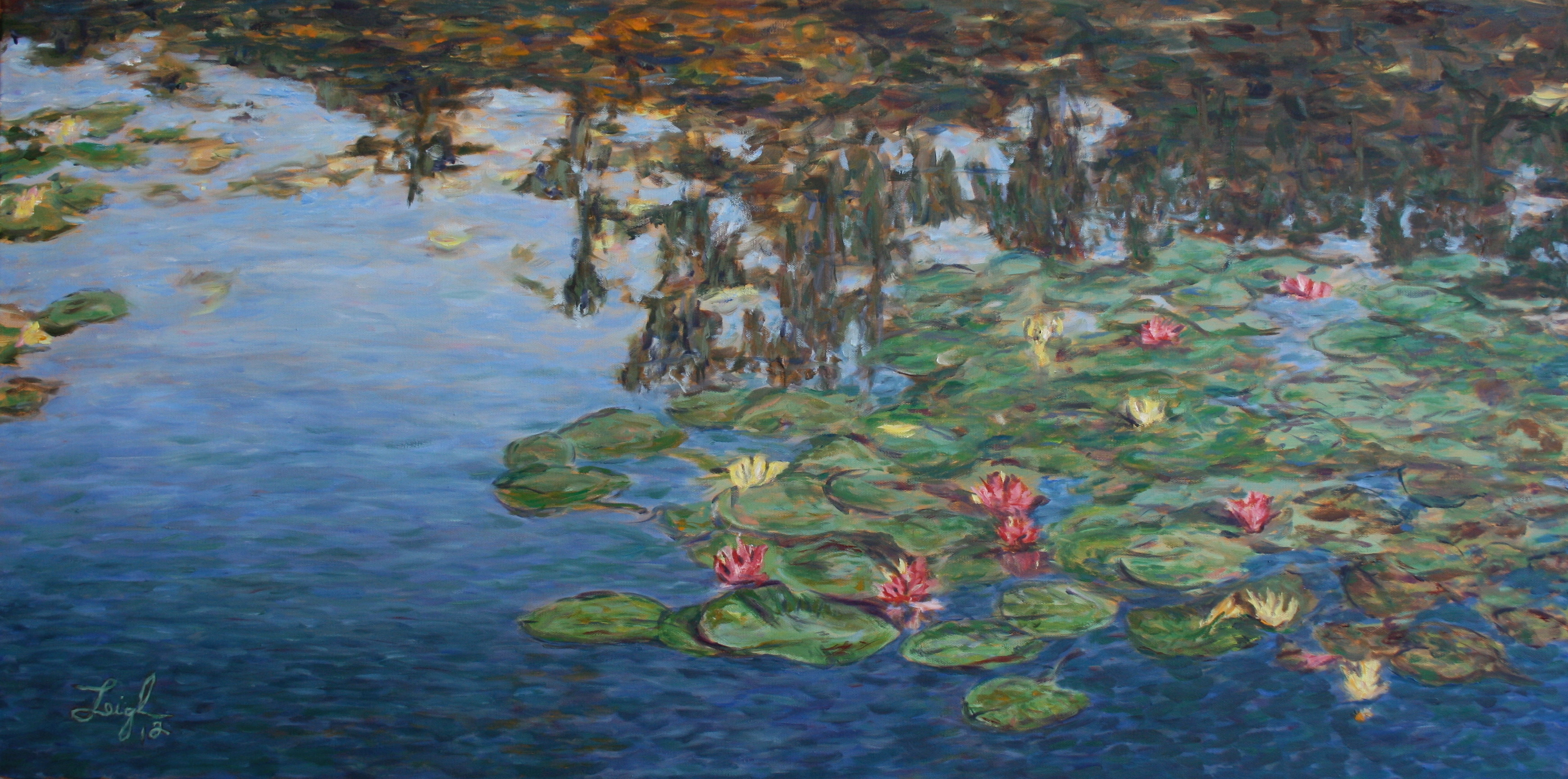 Water Lilies in Monet's Pond  ~   Doug & Karen Hall, San Jose, CA  2012 • 48 x 24