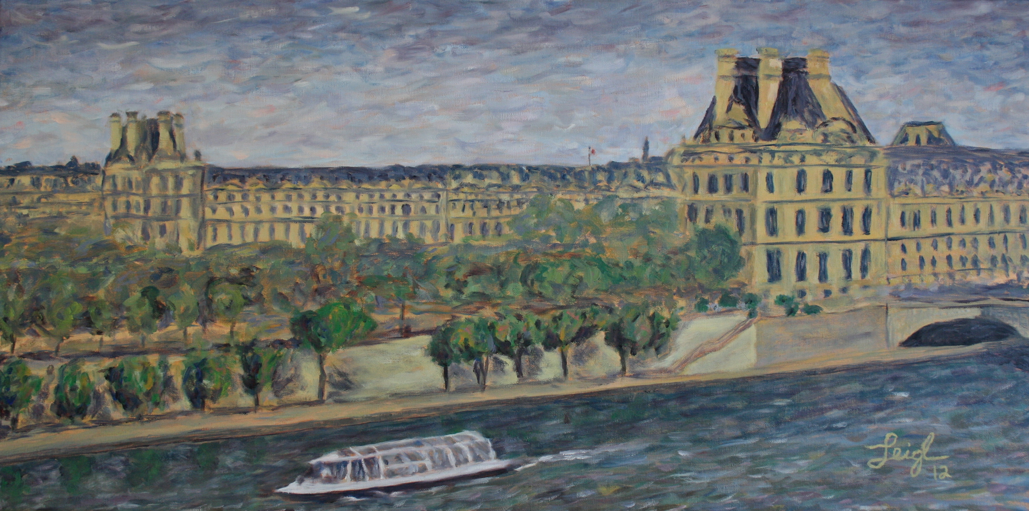 Louvre and Seine from the d'Orsay  ~   Sue & Bill Johnston, San Diego, CA  2012 • 36 x 18
