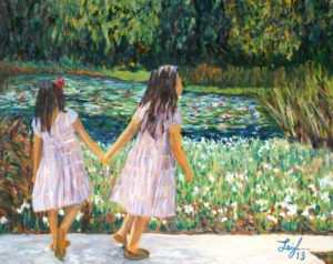 Sisters at Huntington Gardens  ~   Jeannie Rust and Jay Lester, Tucson, AZ 2013  •  30 x 24
