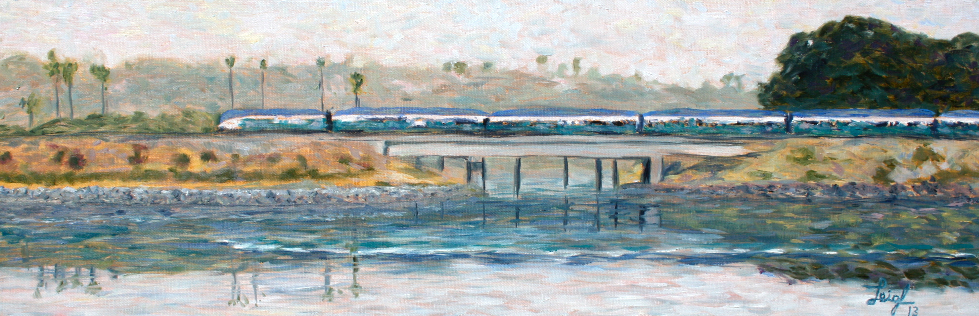 Coaster over Agua Hedionda  ~   Howard Anton Duncan, Oceanside, CA 2013 • 30 x 10