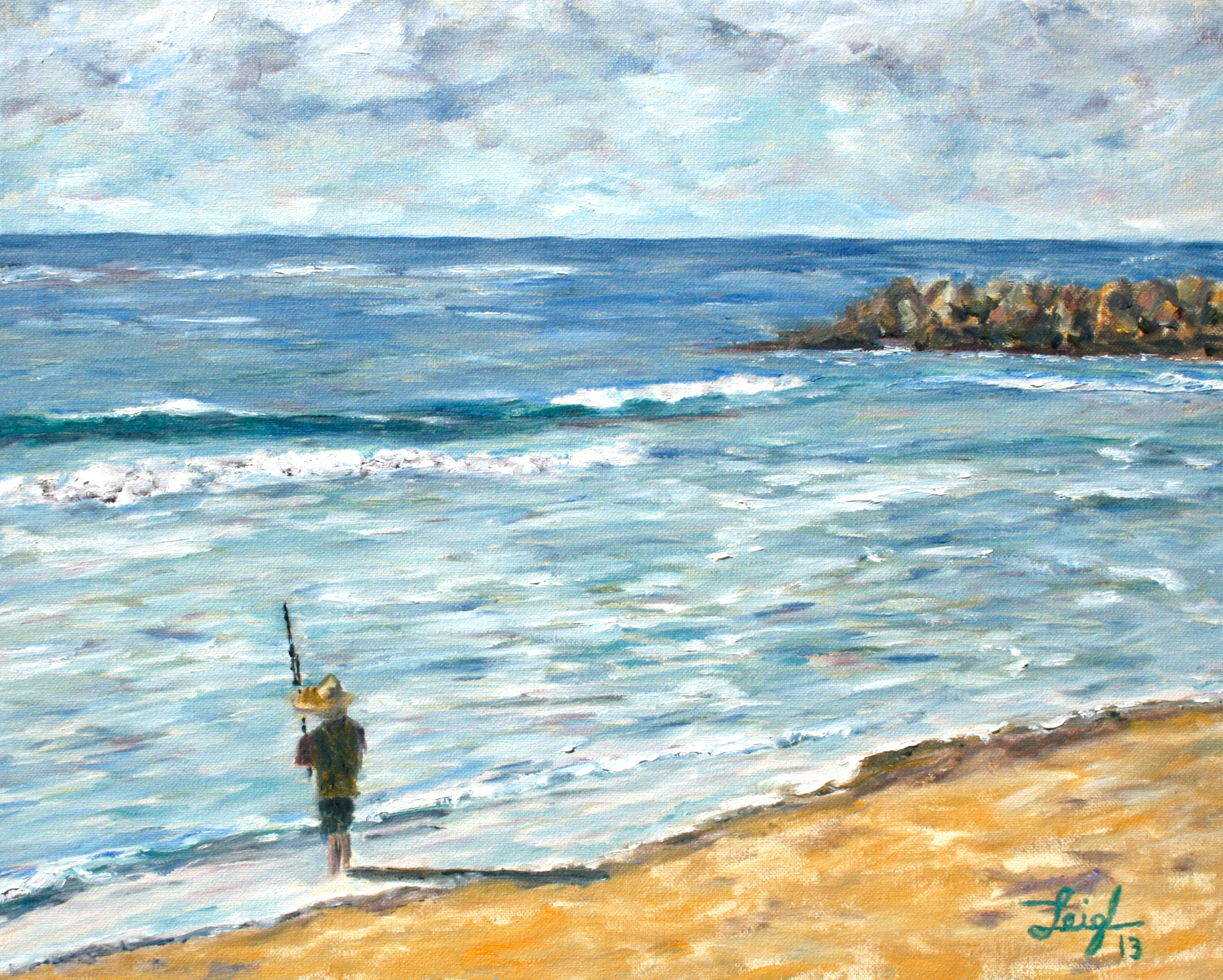 Shore Fishing at Warm Waters  ~   Jenni Schaefer, Austin, TX 2013 • 20 x 16