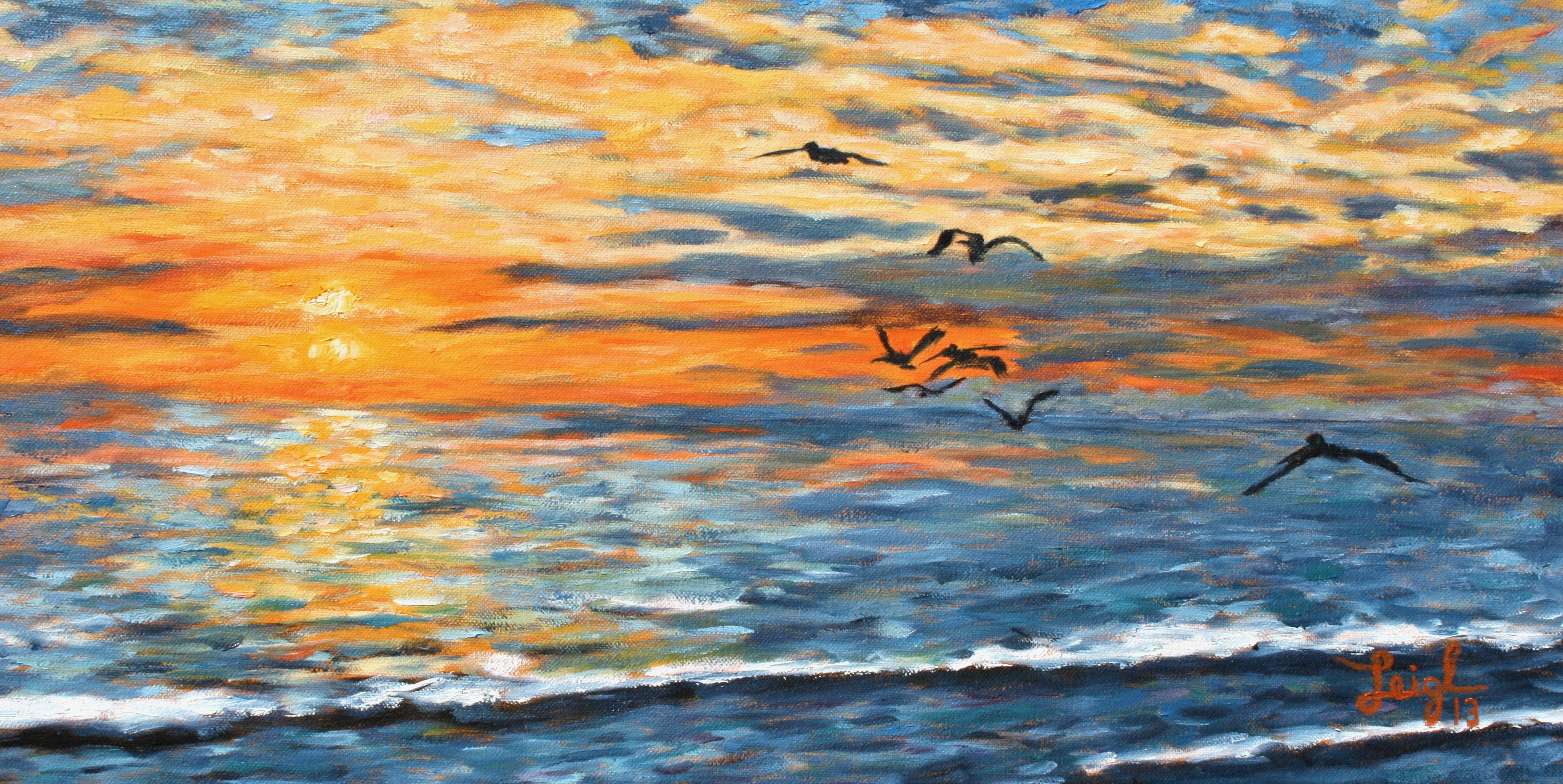 Pelicans at Sunset  ~   Lee & Pam Kulbarsh, Scottsdale, AZ 2013 • 24 x 12