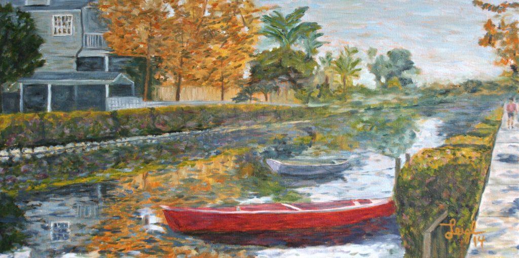 Venice, CA Canal #3  ~   Bonnie Hall, Carlsbad, CA 2014 • 24 x 12