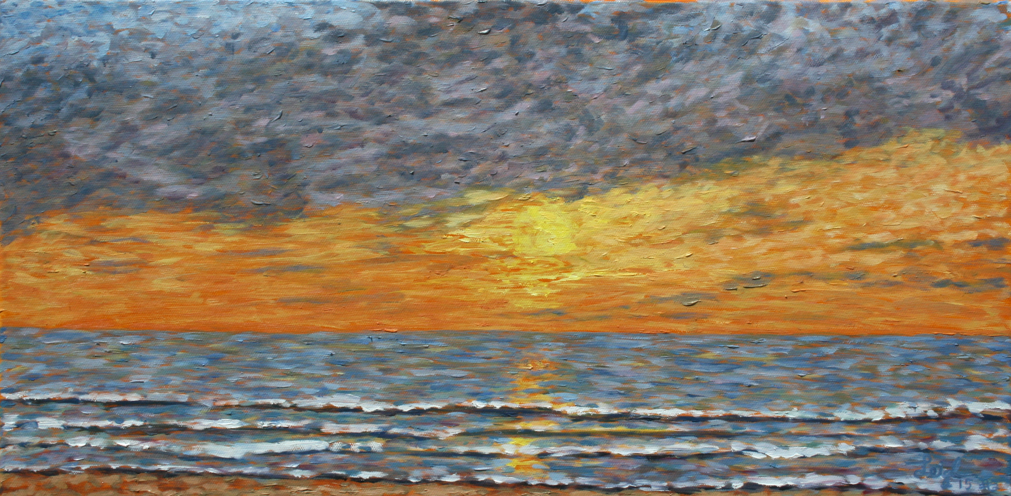 Sunset 2015 #2  ~   Leslie Anderson La Jolla, CA 2015 • 12 x 24