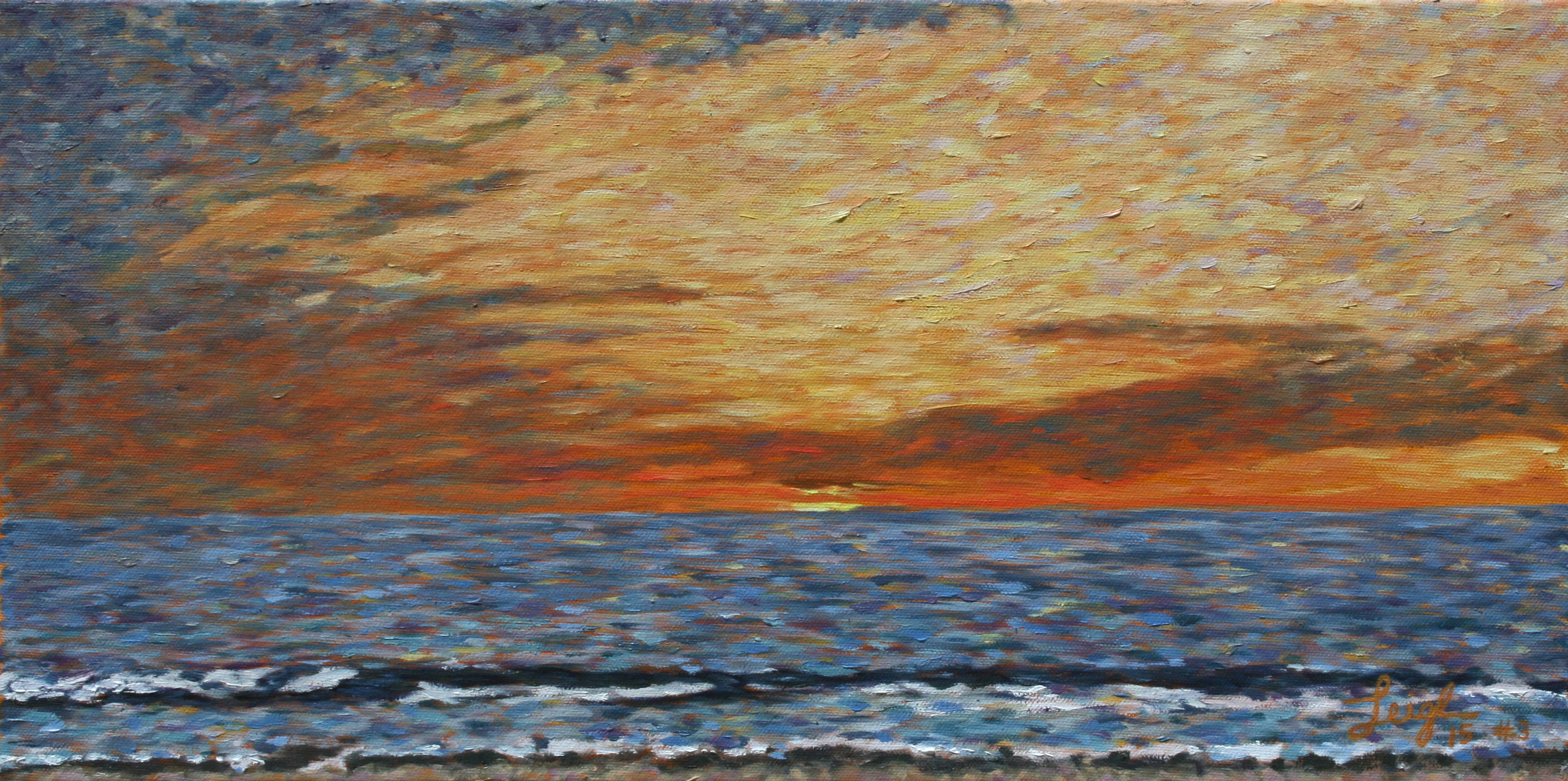 Sunset 2015 #3  ~   Leslie Anderson La Jolla, CA 2015 • 12 x 24