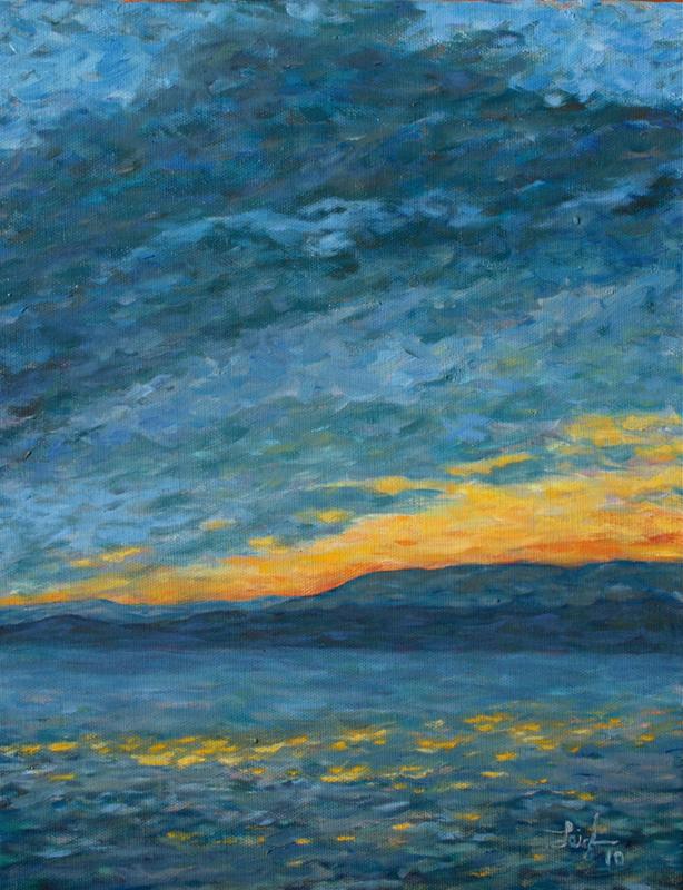 Sunset over Flathead Lake  ~   John Webster and Francesca Droll, Bigfork, MT  2010 • 11 x 14