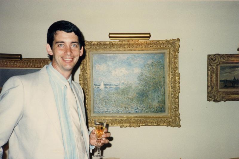 "Leigh in 1987 with ""La Seine á Argenteuil""  ~  Claude Monet (1874)"