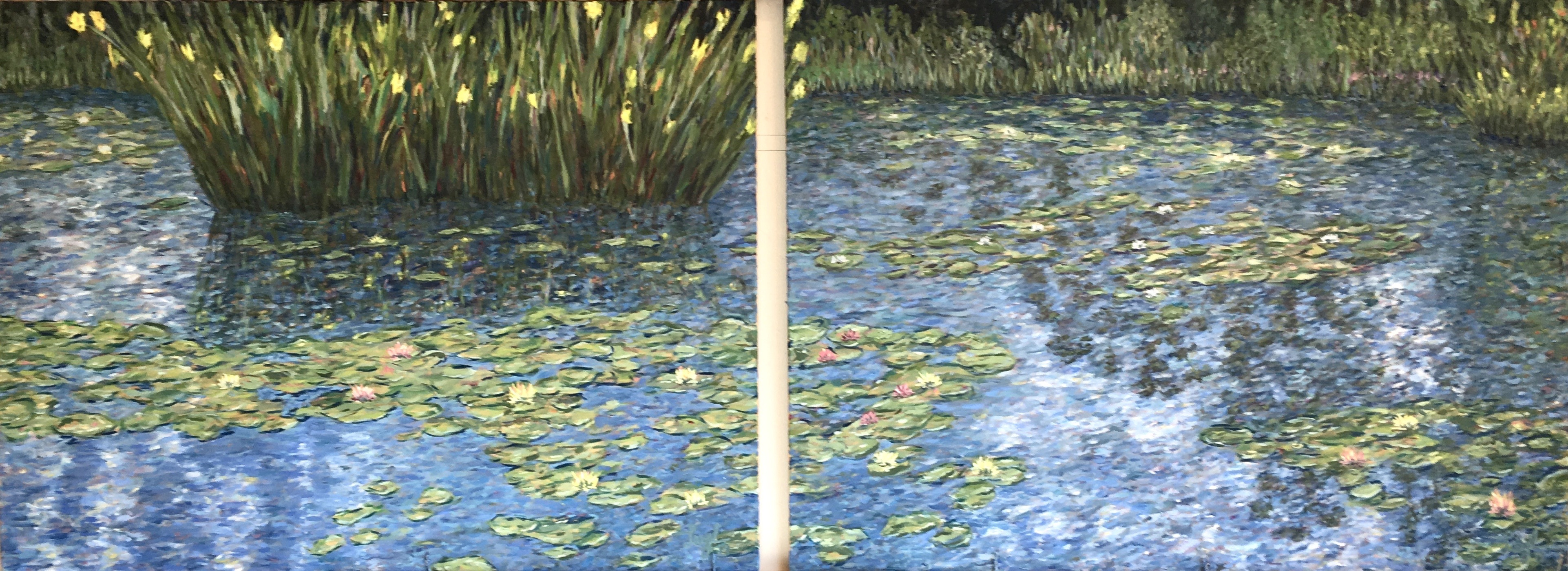 Water Lilies Diptych  ~  2019  •  96 x 36 (2 canvases)