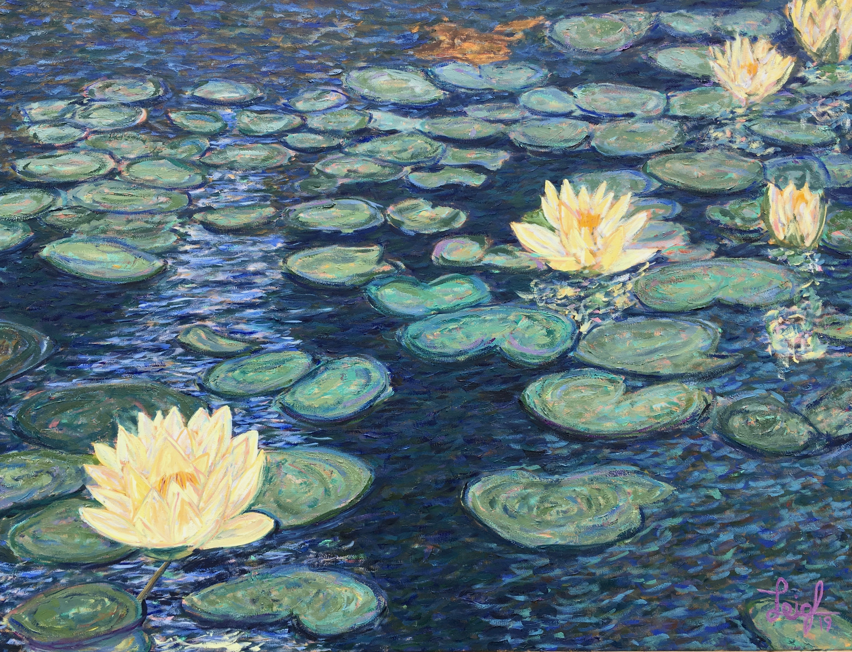 De Young Water Lilies  ~   Vishakha Gigler, San Diego 48 x 36  •  2019