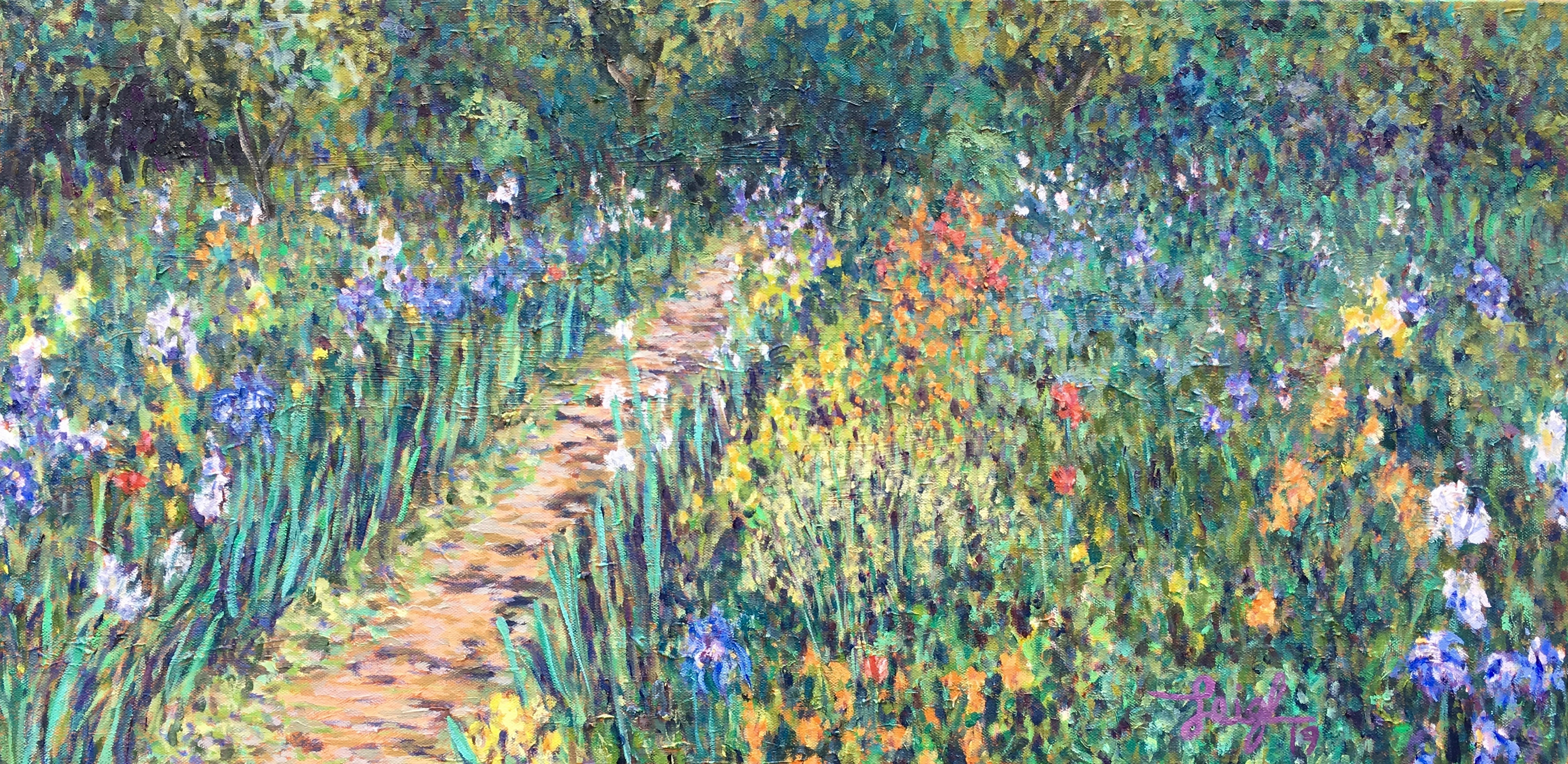Giverny Flower Garden  ~  Art & Beatriz Jacobson, Murietta, CA  36 x 18  •  2019