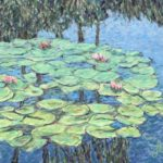 Water lilies in Balboa Park #1  ~  Daniel Smith, Austin, TX 2019  •  24 x 18