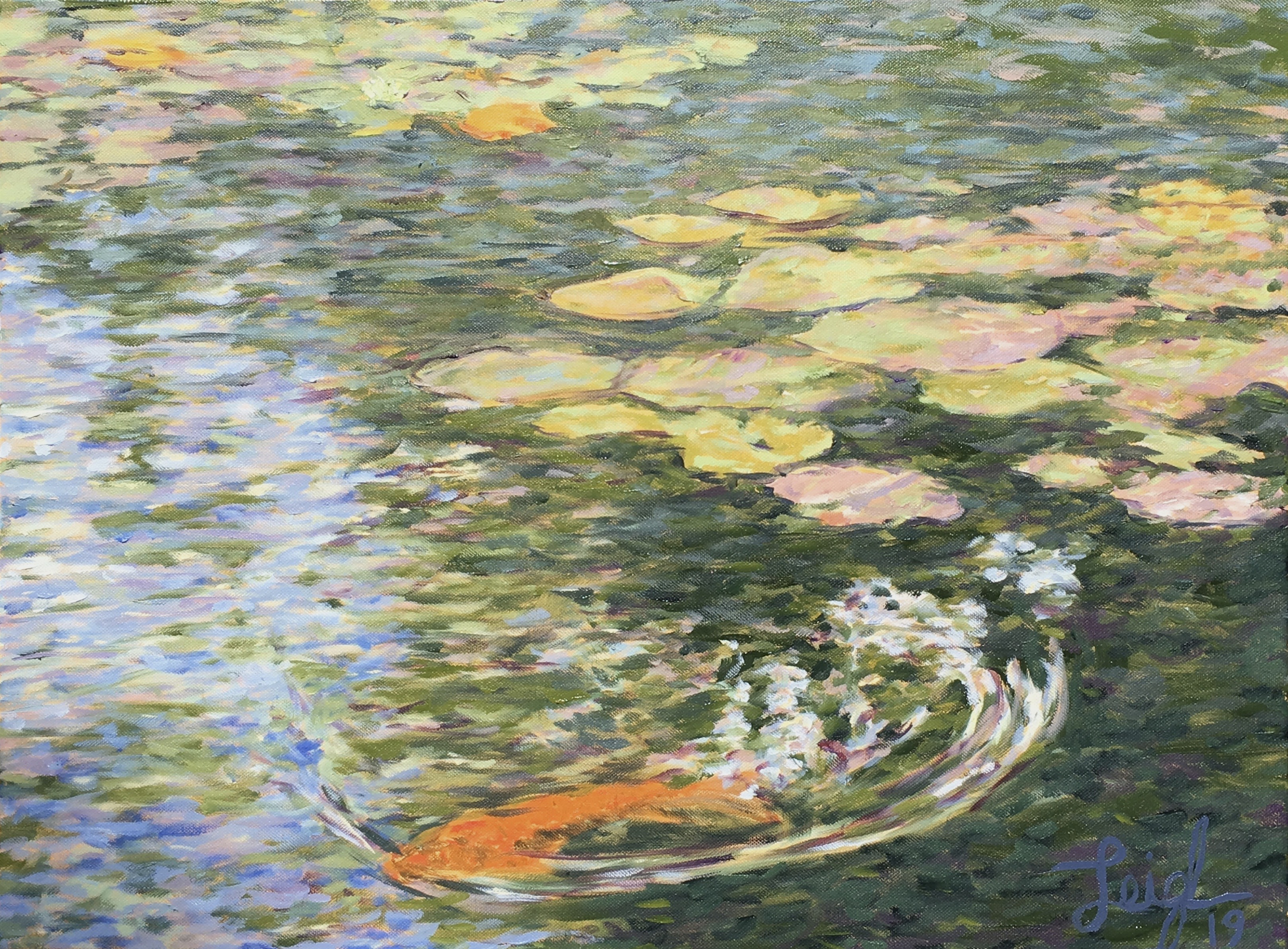Water lilies in Balboa Park #4  ~  Amelia Eastman, La Jolla, CA 2019  •  24 x 18